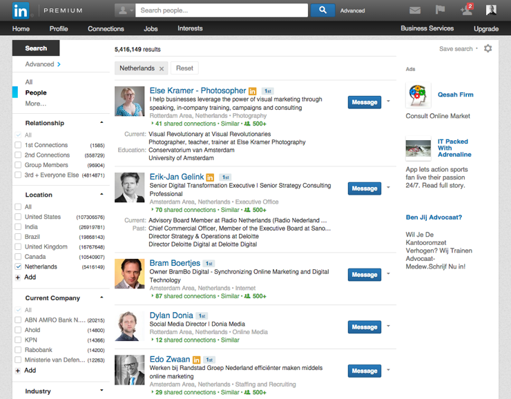 Krachtige LinkedIn features - Search