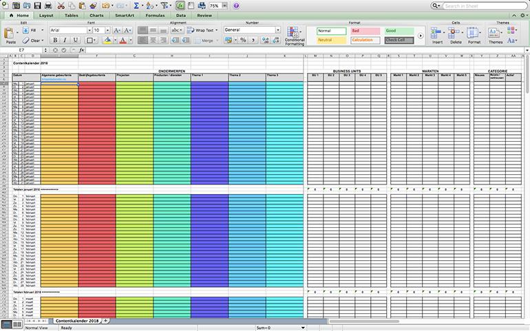 Contentkalender 2018 (Excel)